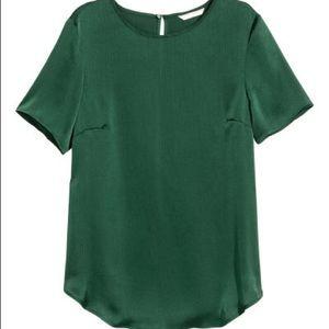 H&M Dark Green Short Sleeve Blouse